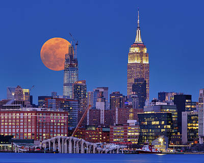Book Quotes - Supermoon over Manhattan  by Jerry Fornarotto