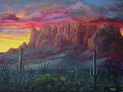 Vintage Buick - Superstition Mountains Sunrise by Chance Kafka