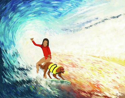 Drawing - Surfer girl and Surfing dog by Kim W Nolan