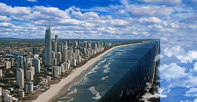 Surrealism Digital Art - Surfers Paradise Queensland Australia Skyline and Clouds Surreal by Barroa Artworks
