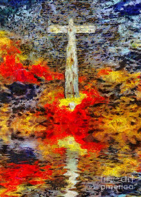 Surrealism Digital Art - Surreal art. Cross above water surface by Bruce Rolff