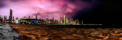 Surrealism Royalty-Free and Rights-Managed Images - Surreal Chicago skyline panoramic view by Sven Brogren