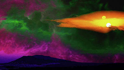 Surrealism Royalty-Free and Rights-Managed Images - Surreal Double Sunset by Don White Artdreamer