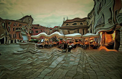 Surrealism Royalty-Free and Rights-Managed Images - Surreal Evening in Venice by Bruce Young