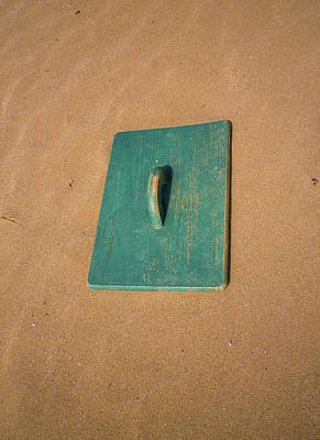 Surrealism Royalty Free Images - Surreal Green Door on Sandy Beach Royalty-Free Image by Richard Brookes