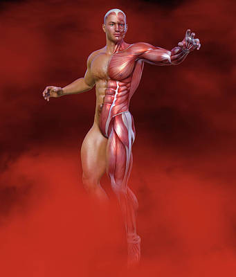 Surrealism Digital Art Rights Managed Images - Surreal Gym Muscled Superhero Royalty-Free Image by Barroa Artworks