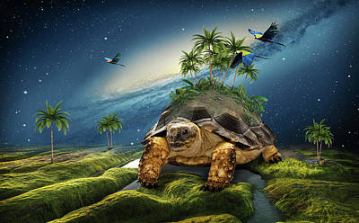 Surrealism Royalty-Free and Rights-Managed Images - Surreal landscape with turtle by Mihaela Pater