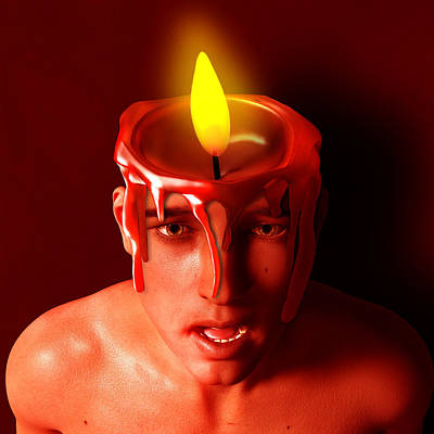Surrealism Royalty-Free and Rights-Managed Images - Surreal Man with Candle on Top of His Head by Barroa Artworks