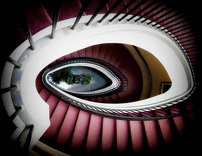 Surrealism Royalty-Free and Rights-Managed Images - Surreal Pink Oval Spiral Staircase by Dr Dapper