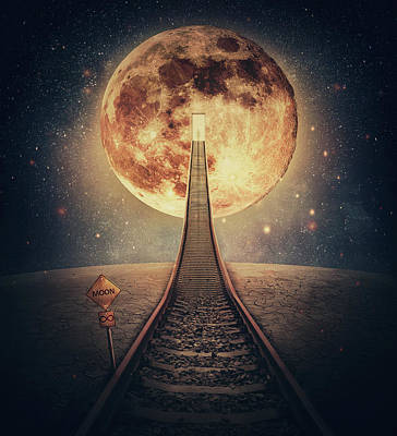 Surrealism Royalty Free Images - Surreal scene and a railway leading up to the moon. Imaginary ni Royalty-Free Image by PsychoShadow ART