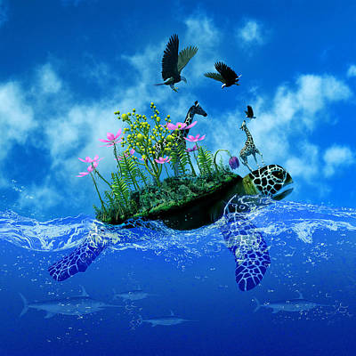 Surrealism Royalty-Free and Rights-Managed Images - Surreal Turtle with Island and Giraffe on Back by Barroa Artworks