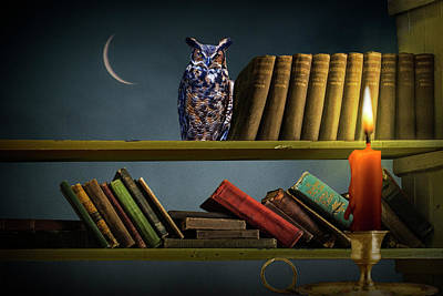 Classical Masterpiece Still Life Paintings - Surrealistic Image of an Owl on a Bookshelf lit by a Red Candle  by Randall Nyhof