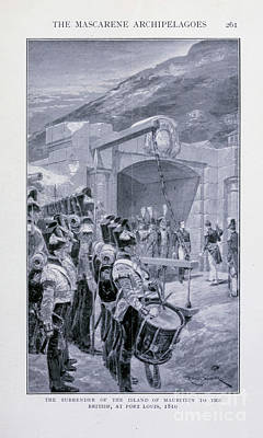 Drawings Royalty Free Images - Surrender Of The Island Of Mauritius i1 Royalty-Free Image by Historic illustrations