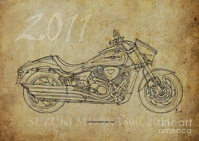 Landscape Photos Chad Dutson - SUZUKI M109R 1800 2011 Original Artwork by Drawspots Illustrations