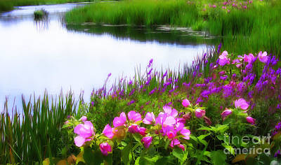 Bringing The Outdoors In - Swamp Rose Mallows at Waters Edge by Mike Nellums