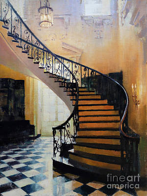 Painting - Swan Descending, A Staircase by Patrick Saunders