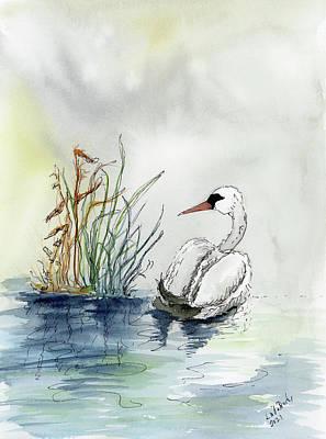 Farm Life Paintings Rob Moline - Swan by Linda Brody