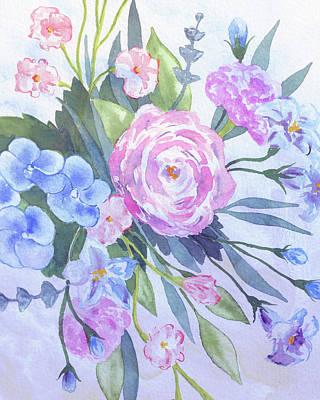 The Beach House - Sweet Blue Pink Purple Watercolor Flowers by Irina Sztukowski