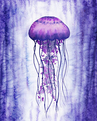 Royalty-Free and Rights-Managed Images - Swimming In Purple Ocean Jellyfish Watercolor  by Irina Sztukowski