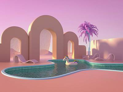 Royalty-Free and Rights-Managed Images - Swimming Pool Near Palm Trees by Julien