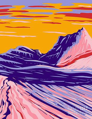 Sara Habecker Folk Print - Swirling Grey and White Sandstone in White Pocket in Paria Plateau Located in Vermilion Cliffs National Monument Arizona United States WPA Poster Art by Aloysius Patrimonio