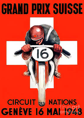 Drawings Royalty Free Images - Switzerland 1948 Motorcycle Grand Prix Royalty-Free Image by F Portier
