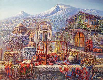 Painting - Symbols of Armenian culture by Meruzhan Khachatryan