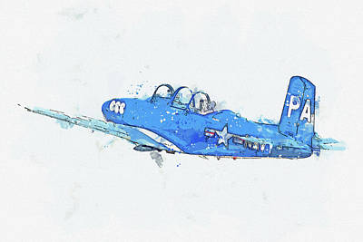 Rowing - T-Mentor Beech PA Navy Antique - Classic Aircraft - Classic War Birds - Planes watercolor by Ahmet A by Celestial Images