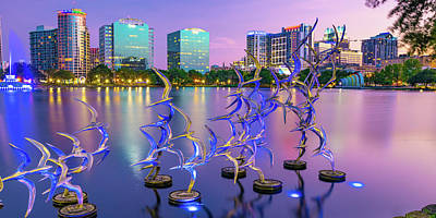 Royalty-Free and Rights-Managed Images - Take Flight Statues Panoramic View of Lake Eola and Orlando Skyline by Gregory Ballos