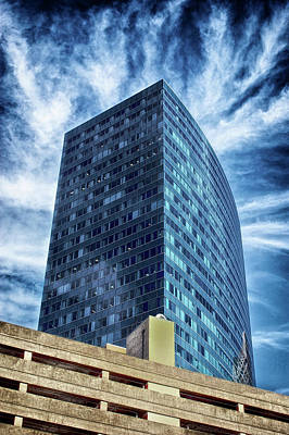 Surrealism Royalty-Free and Rights-Managed Images - Tall Glass Skyscraper Looking Electrically Charged Boston Massachusetts by Dr Dapper