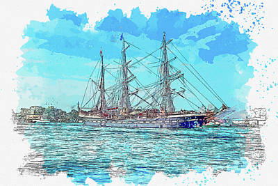 Royalty-Free and Rights-Managed Images - Tall Sail ship 5, ca 2021 by Ahmet Asar, Asar Studios by Celestial Images