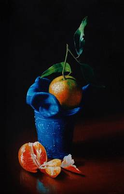 Painting - Tangerine and blue glass by Peter Thomas Foster
