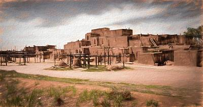 Digital Art - Taos Pueblo New Mexico by Rebecca Herranen
