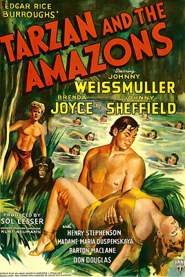Mixed Media Royalty Free Images - Tarzan and the Amazons, with Johnny Weissmuller, 1945 Royalty-Free Image by Stars on Art