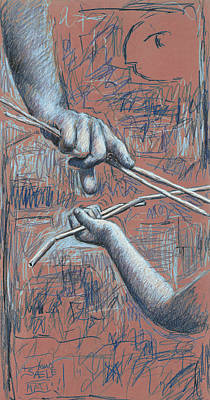 Drawing - Teaching and Learning - Pink by Hans Egil Saele