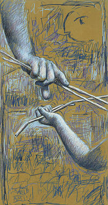 Drawing - Teaching and Learning - Yellow by Hans Egil Saele