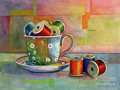 Popstar And Musician Paintings - Teacup and Spools by Hailey E Herrera
