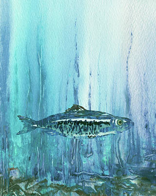 Royalty-Free and Rights-Managed Images - Teal Blue Fish Watercolor  by Irina Sztukowski