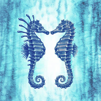 Royalty-Free and Rights-Managed Images - Teal Blue Ocean Two Seahorses Watercolor  by Irina Sztukowski