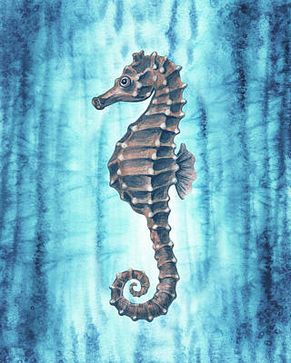 Royalty-Free and Rights-Managed Images - Teal Blue Seahorse Ocean Creature Watercolor  by Irina Sztukowski