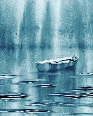 Royalty-Free and Rights-Managed Images - Teal Blue Waters Of The Lake With Single Boat Drifting  by Irina Sztukowski