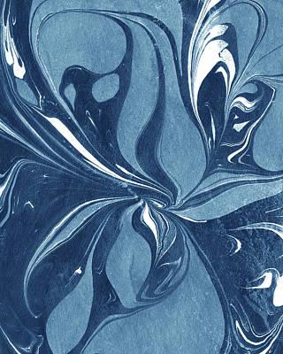 Royalty-Free and Rights-Managed Images - Teal Indigo Blue Magic Flower Nature Pattern  by Irina Sztukowski