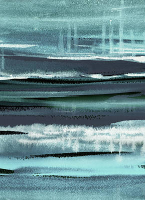 Royalty-Free and Rights-Managed Images - Teal Reflections Abstract Watercolor River Flow by Irina Sztukowski