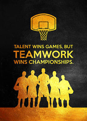 Sports Royalty-Free and Rights-Managed Images - Teamwork Michael Jordan Motivational Wall Art by AB Concepts