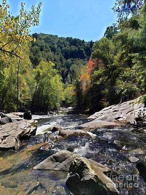 Vintage Signs - Tellico River In Autumn by Rachel Hannah
