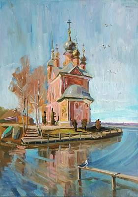 Painting -  Temple on the water - Church of the Forty martyrs in Pereslavl-Zalessky by Nina Silaeva