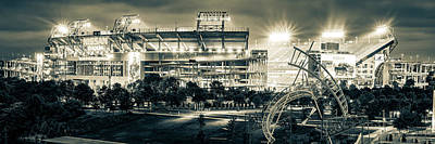Sports Royalty-Free and Rights-Managed Images - Tennessee Football Stadium in Nashville - Sepia Monochrome Panorama by Gregory Ballos