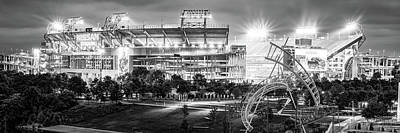 Sports Royalty-Free and Rights-Managed Images - Tennessee Stadium in Nashville - Black and White Panorama by Gregory Ballos
