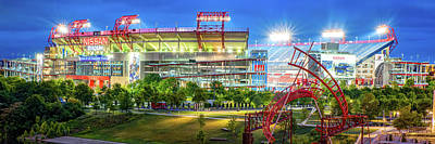 Sports Royalty-Free and Rights-Managed Images - Tennessee Stadium in Nashville Panorama by Gregory Ballos