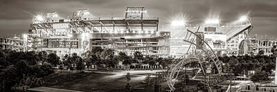 Sports Royalty-Free and Rights-Managed Images - Tennessee Stadium in Nashville - Sepia Panorama by Gregory Ballos